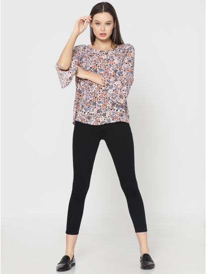Pink All Over Print Tie Up Sleeves Top