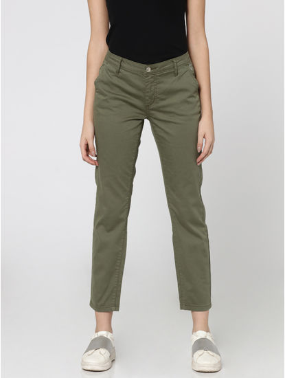 Olive Green Mid Rise Comfort Fit Chino Pants