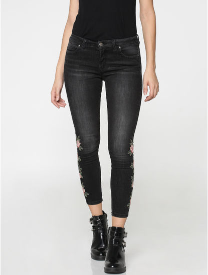 Black Mid Rise Floral Embroidered Skinny Fit Jeans