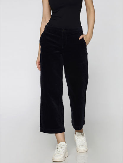 Blue Mid Rise Cord Pattern Wide Leg Cropped Pants