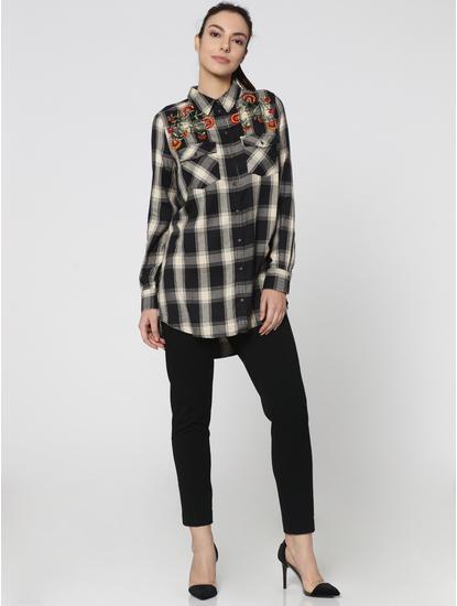 Black Embellished Loose Fit Check Shirt