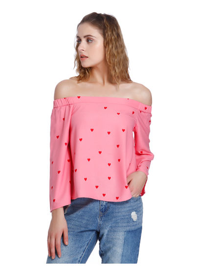 Pink Heart Print Off Shoulder Top