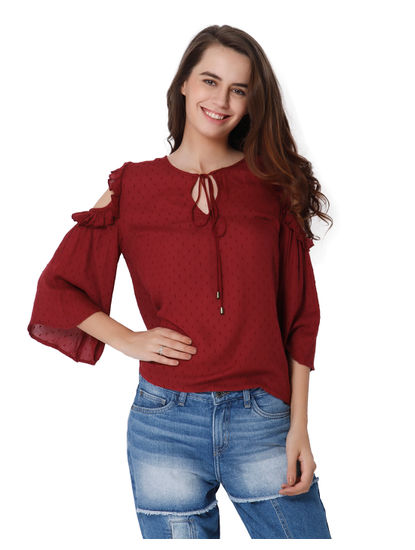 Red Dobby Weave Cold Shoulder Top