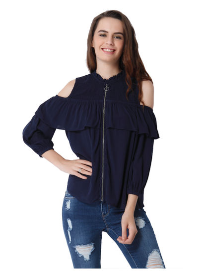 Dark Blue Ruffle Detail Cold Shoulder Top