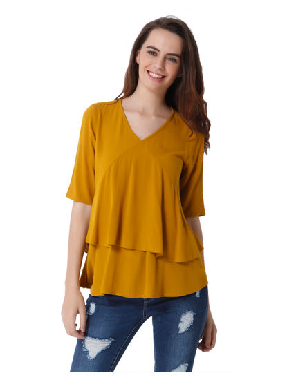 Mustard Ruffle Tiered Top