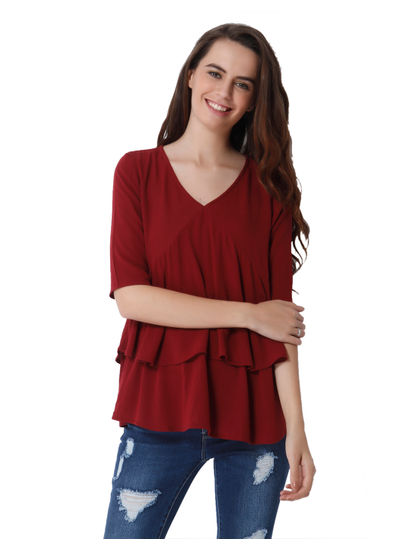 Burgundy Tiered Top