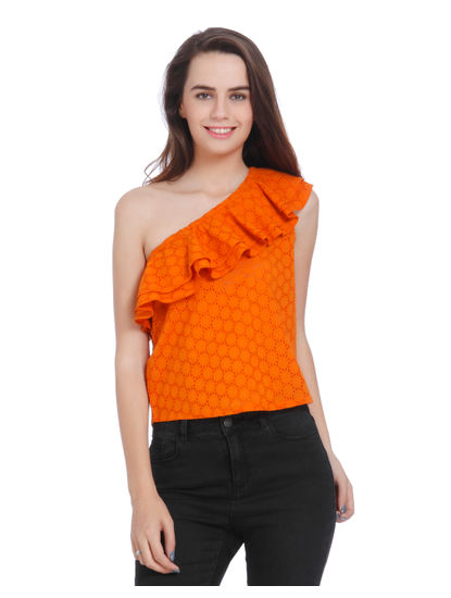 Orange One Shoulder Frill Detail Top