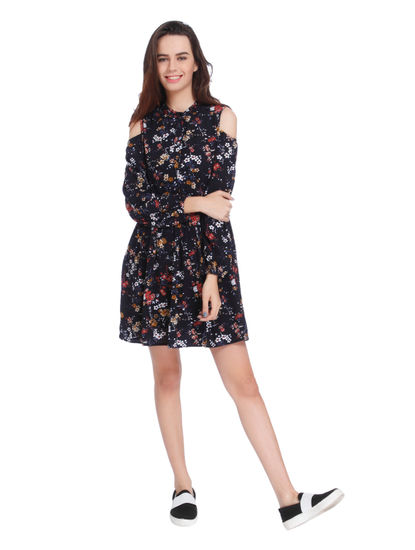 Dark Blue Floral Print Cold Shoulder Swing Dress