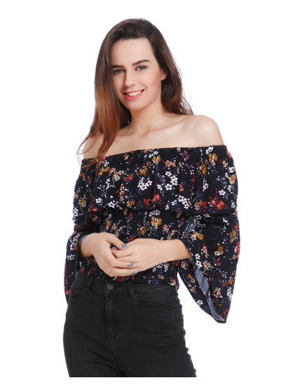 Dark Blue Floral Print Off Shoulder Frill Detail Top