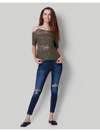 Army Green Lace Cold Shoulder Top