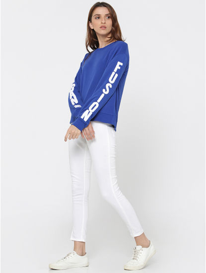 Blue Text Print Boxy Sweatshirt