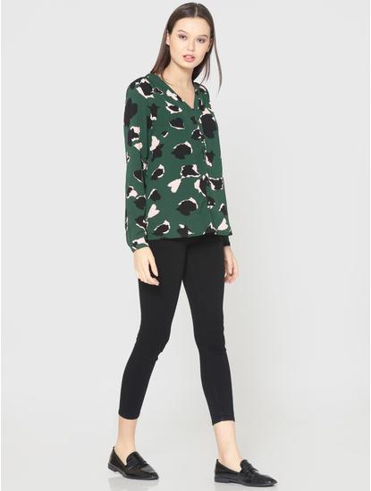 Green All Over Print V-Neck Shirt