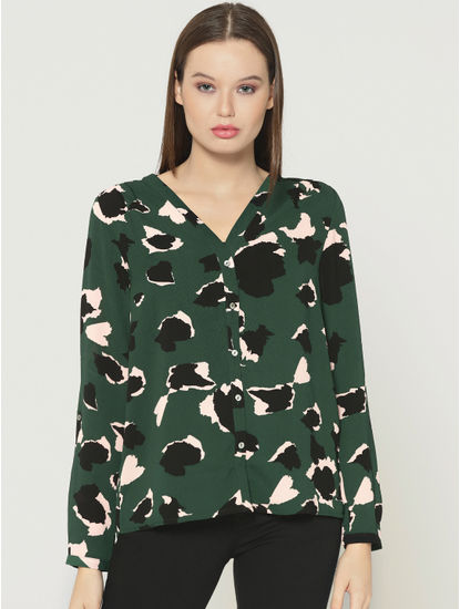 Green All Over Print V-Neck Shirt