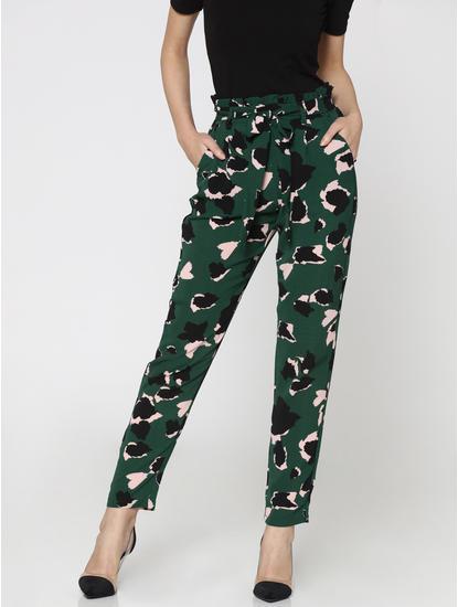 Green All Over Print Paperbag Waist Pants