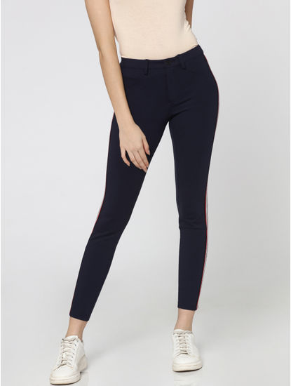 Dark Blue Tape Detail Mid Rise Slim Fit Pants