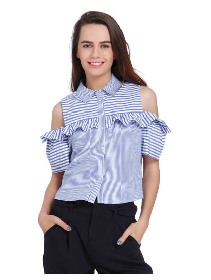 Blue Striped Cold Shoulder Frill Detail Shirt