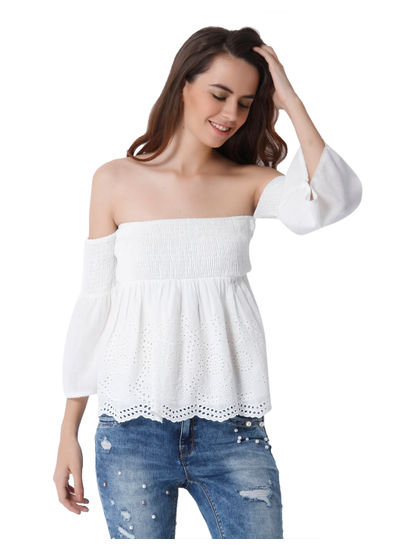 White Cut Work Off Shoulder Top