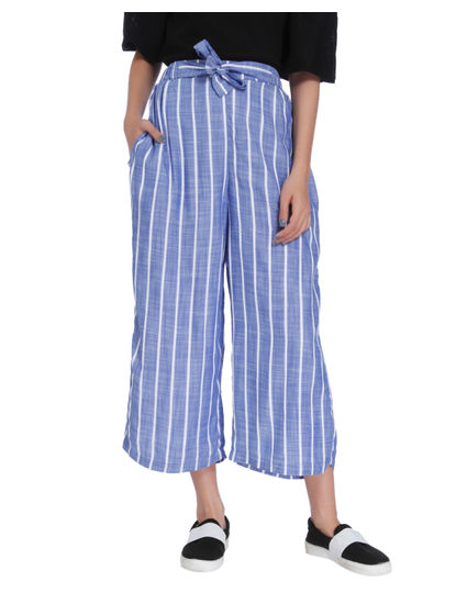 Blue Striped Tie Waist Mid Rise Pants