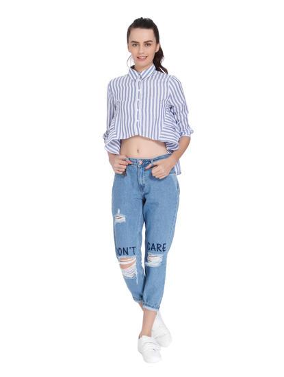 Blue Striped High Low Shirt