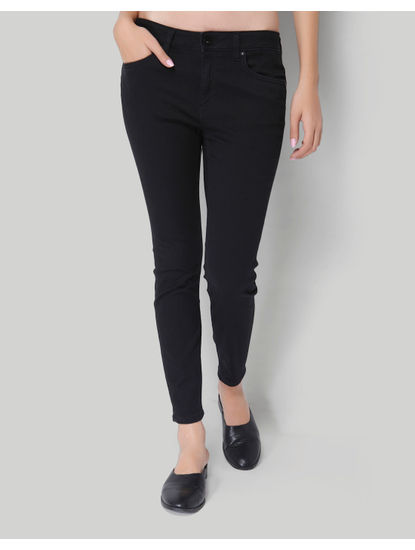 Black Low Rise Ankle Length Skinny Denim