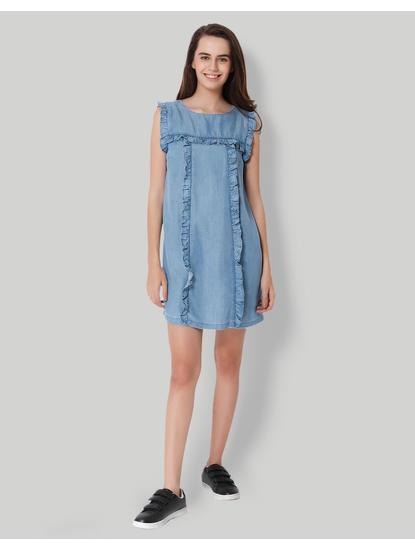 Blue Frill Detail Denim Shift Dress