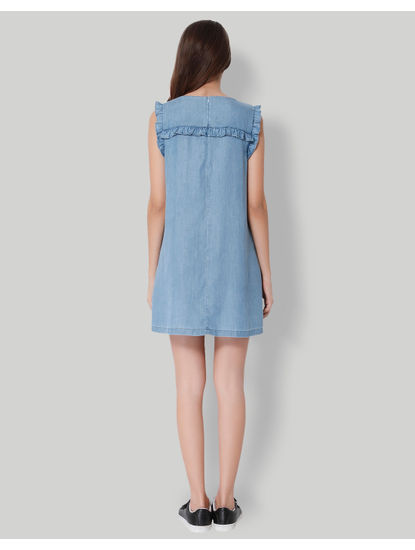 Blue Frill Detail Denim Shift Dress
