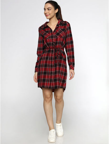 Orange Checks Tie Up Shirt Dress