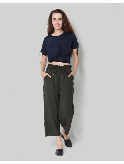 Army Green Paper Bag Waist Cropped Relaxed Fit Trousers