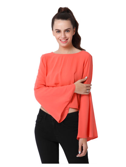 Peach Flared Sleeves Crop Top