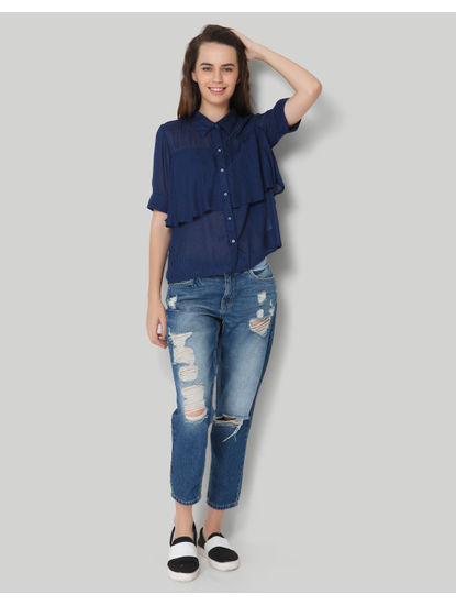 Blue Checkered Ruffles Shirt