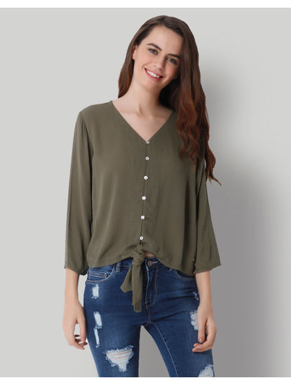 Olive Green Knot Shirt