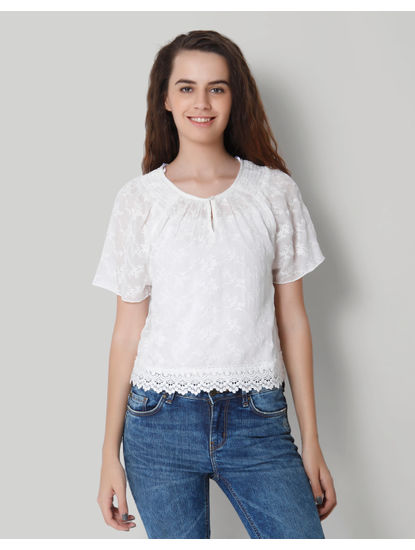 White Self Design Lace Detail Top
