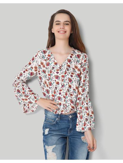 White Floral V Neck Bell Sleeve Shirt