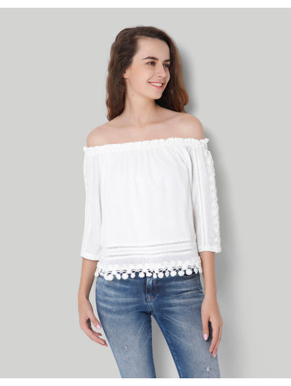 White Off Shoulder 3/4Th Sleeve Lace Detailed Top