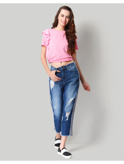 Dark Blue Ripped Tape Detail Mid Rise Regular Fit Jeans