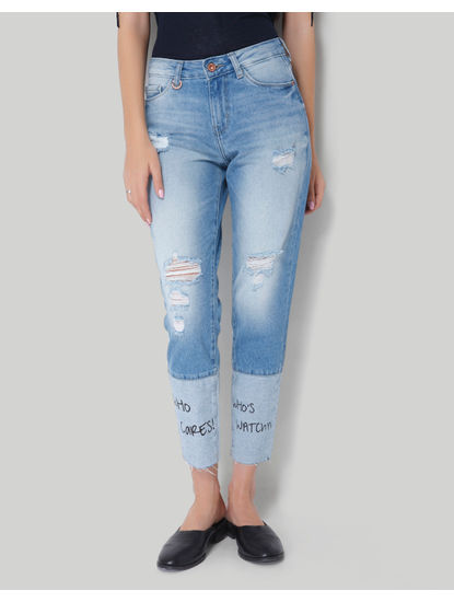 Light Blue Mid Rise Ankle Length Printed Skinny Denim