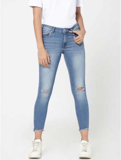 Light Blue Ripped Knee Mid Rise Skinny Fit Jeans