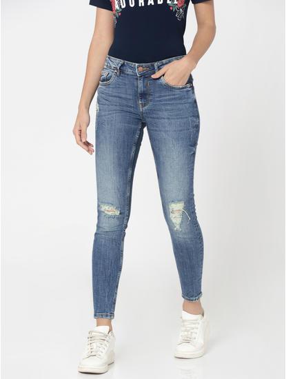 Dark Blue Distressed Mid Rise Slim Fit Jeans