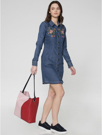 Blue Embroidered Denim Shirt Dress