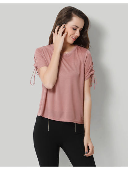 Beige Lace Up Sleeves T-Shirt