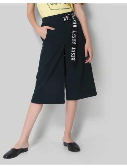 Dark Green Cropped Wide Leg Pants