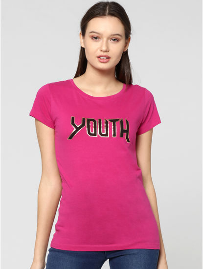 Red Youth Text Print T-Shirt