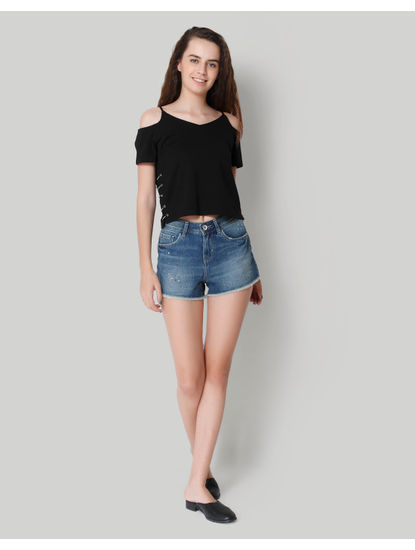 Blue Mid Rise Denim Shorts