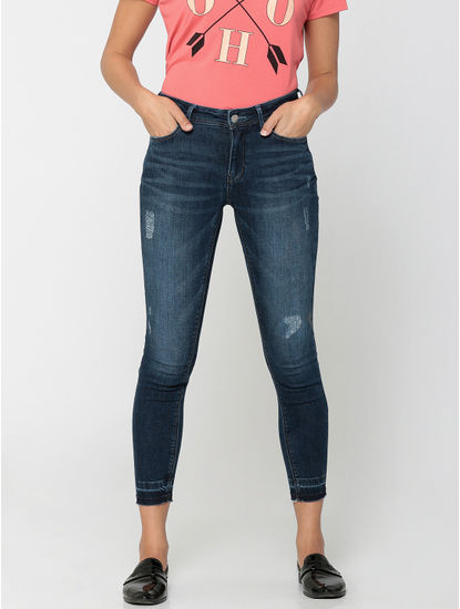 Dark Blue High-Waist Distressed Slim Fit Jeans