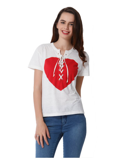 White Heart Print Lace Up Top