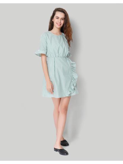 Green Striped Ruffle Detail Shift Dress