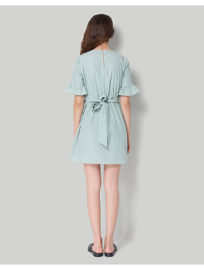 Green Striped Ruffle Detail Shift Dress