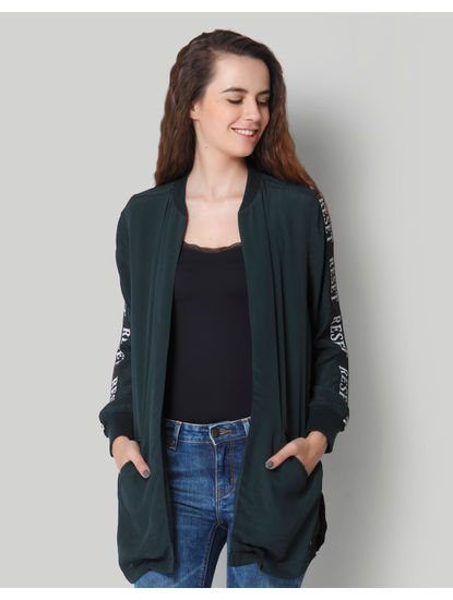 Turquoise Green Text Print Long Shrug