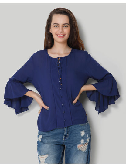 Blue Ruffles Full Sleeve Top