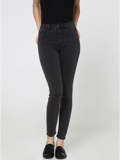 Dark Grey High Waist Skinny Jeans